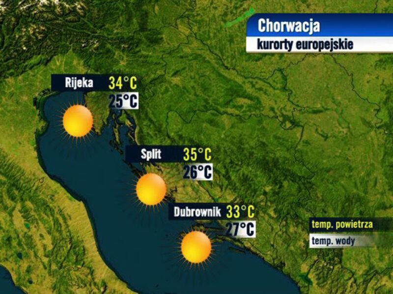Prognoza pogody dla kurortów w Chorwacji, 24.08