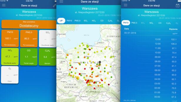 Mobilna aplikacja GIOŚ  GIOŚ, tvnwarszawa.pl