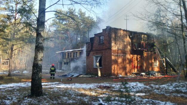 Pożar drewnianego budynku przy ul. 1. Praskiego Pułku