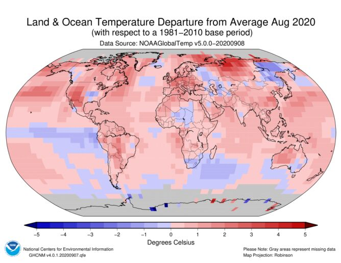 Odchylenie od średniej temperatury w sierpniu 2020 (NOAA)
