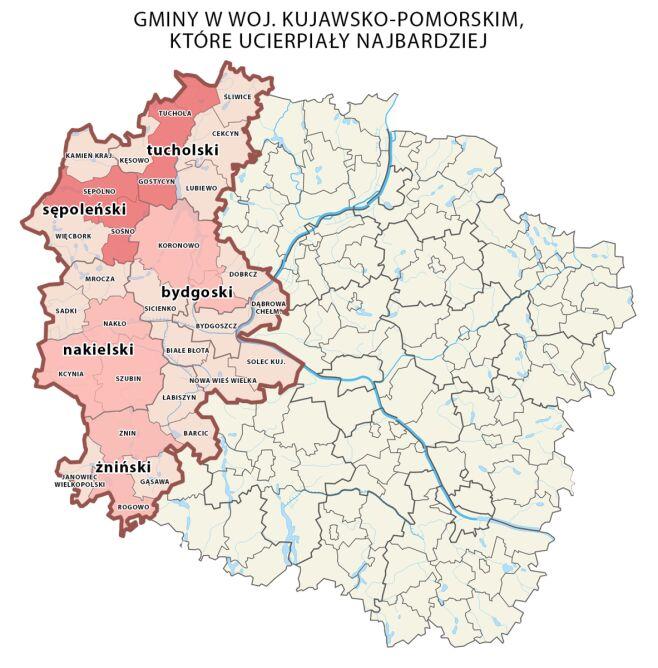 Interwencje po burzy w województwie kujawsko-pomorskim. Im ciemniejszy kolor, tym ich liczba jest większa