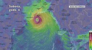 Prognozowane porywy wiatru towarzyszące cyklonowi Bulbul (Ventusky.com)