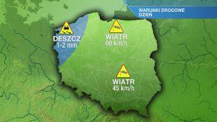 Warunki drogowe w poniedziałek 9.12